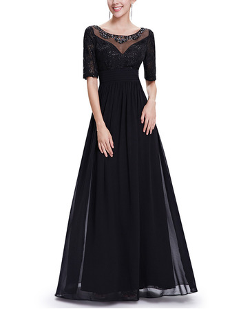 Affordable A-Line Full Length Chiffon Formal Mother Dress with Half Sleeves
