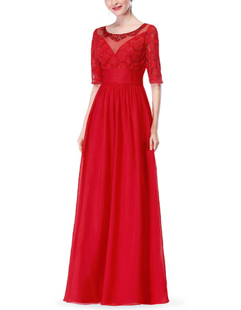 2018 Stylish Full Length Red Chiffon Formal Mother Dress with Half Sleeves