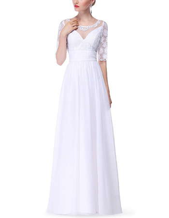 Modern Long Chiffon Formal Mother Dress with Half Lace Sleeves