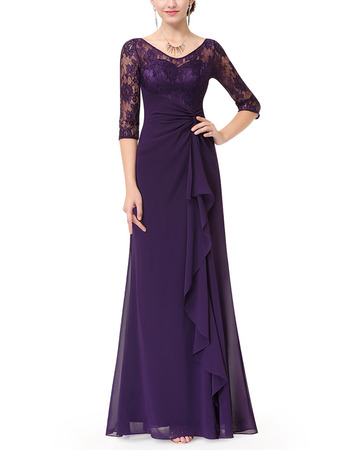 Elegant Long Purple Chiffon Formal Mother Dress with Half Lace Sleeves & Ruffle