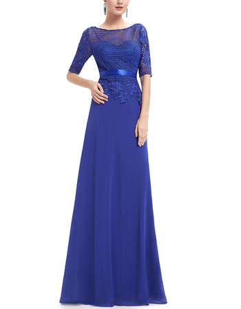 2018 Modest Long Chiffon Formal Mother Dress with Half Lace Sleeves & Belts