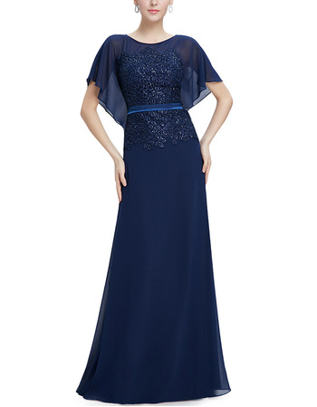 Elegant Full Length Chiffon Formal Mother of the Bride Dress with Cap Sleeves & Belts
