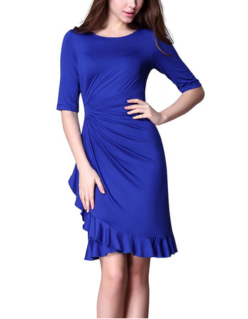 2018 Stylish Sheath Short Blue Satin Mother Formal Dress with Half Sleeves