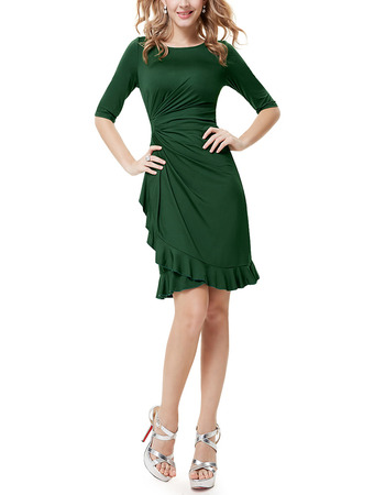 Elegant Sheath Short Satin Mother of the Bride Dress with Half Sleeves