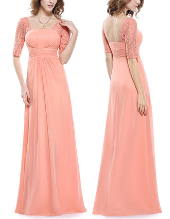 Elegant Floor Length Chiffon Mother Formal Dress with Half Lace Sleeves