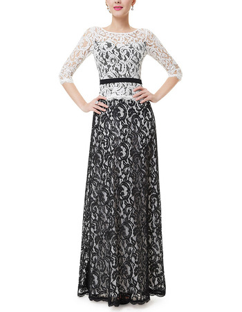 Inexpensive Lace Black & White Mother Formal Dress with Half Sleeves