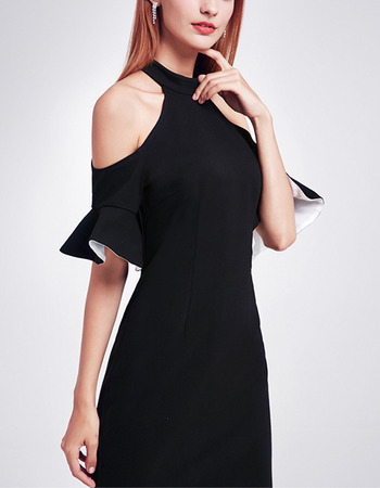 2018 Pretty Halter Cold Shoulder Knee Length Black Homecoming Dress