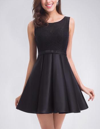 Sipmle A-Line Non Strapless Sleeveless Short Satin Homecoming/ Little Black Dress