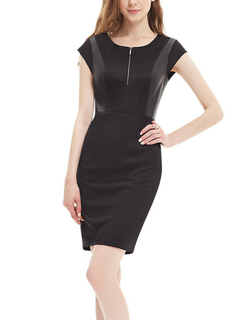 Inexpensive Column Short Sleeves Mini Homecoming/ Little Black Tight Dress