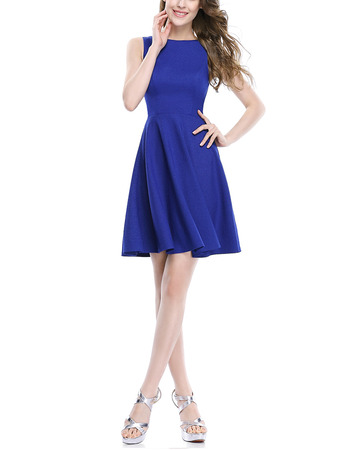 2018 Simple A-Line Sleeveless Short Satin Blue Homecoming Dress