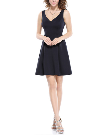 Affordable A-Line V-Neck Mini/ Short Satin Black Homecoming/ Party Dress