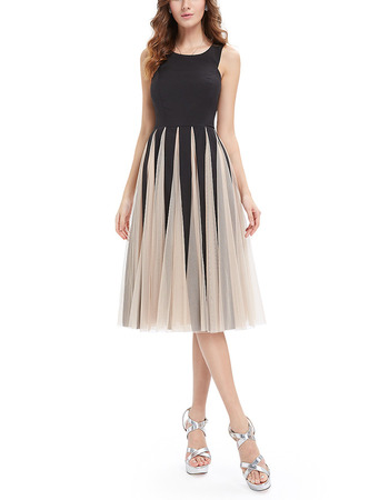 2018 A-Line Knee Length Tulle Insert Skirt Ombre Homecoming Dress