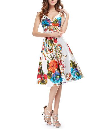 Sexy A-Line V-Neck Knee Length Printed Satin Homecoming Dress