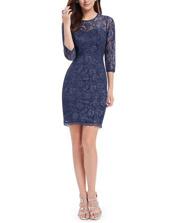 2018 New Sheath Short Lace Homecoming Dress with 3/4 Long Sleeves