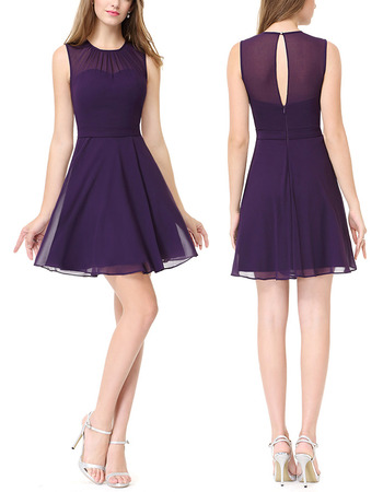 Affordable A-Line Sleeveless Mini/ Short Chiffon Homecoming Dress