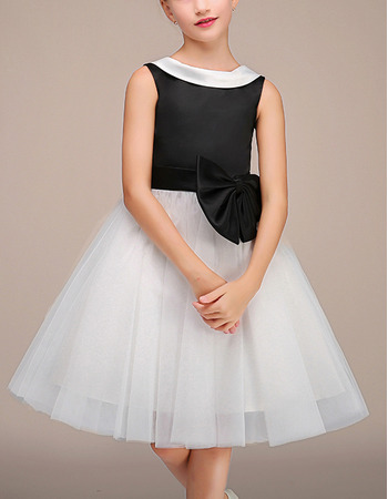 Pretty Lapel Knee Length Black & White Little Girls Party Dress