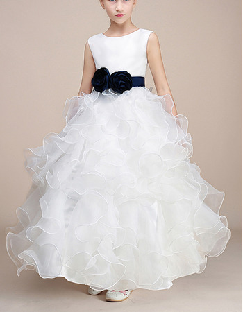 Pretty Ankle Length Ruffle Skirt white Flower Girl Dress with Sashes