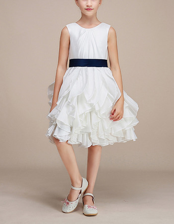 Pretty Knee Length Ruffle Skirt White Flower Girl Dress with Sashes