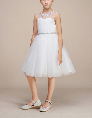2018 Simple A-Line Knee Length Satin Organza Flower Girl Dress
