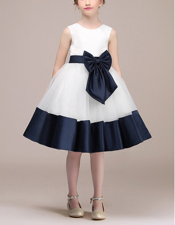 Cute A-Line Knee Length Satin Flower Girl Dress with Belts