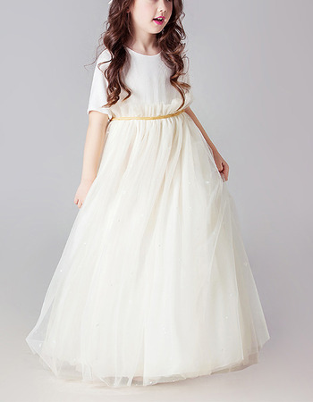 Affordable Floor Length Organza Flower Girl Dress with Short Sleeves