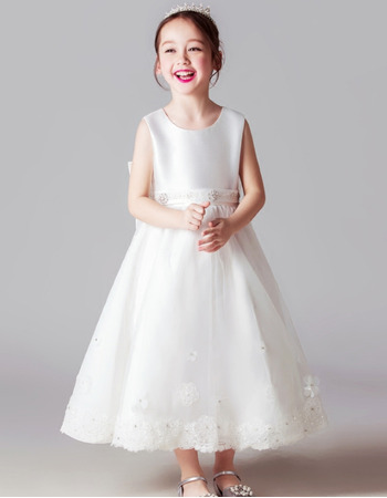 2018 Beautiful Sleeveless Tea Length Satin Flower Girl/ First Communion Dress