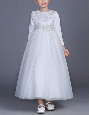 2018 Kid's Princess Ankle Length White Flower Girl/ First Communion Dress with Long Sleeves