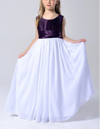 Affordable Beautiful Sleeveless Floor Length Chiffon Flower Girl Dress