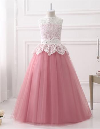 Pretty Ball Gown Sleeveless Floor Length Lace Flower Girl Dress