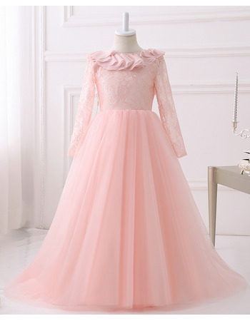 2018 Beautiful Floor Length Lace Flower Girl Dress with Long Sleeves