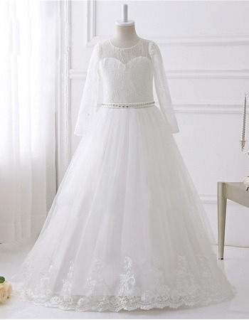 Stunning Floor Length Lace Flower Girl Dress with Long Sleeves