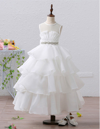 Stunning Tea Length Organza Tulle Layered Skirt Flower Girl Dress