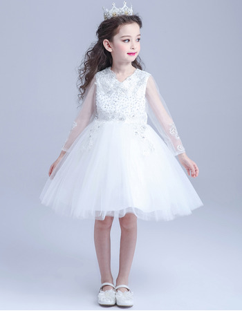 Adorable Princess A-Line Short Organza Flower Girl Dress with Long Sleeves
