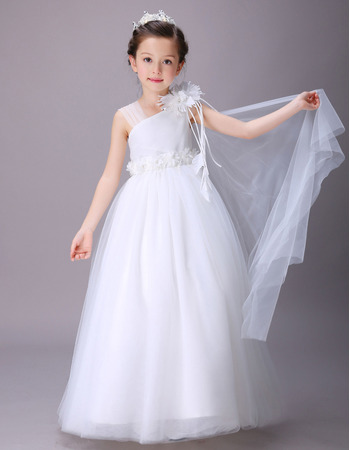 2018 New Beautiful Asymmetric Full Length Satin Flower Girl Dress