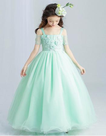Custom Beautiful Spaghetti Straps Short Sleeves light Floor Length Flower Girl Dress
