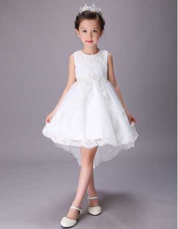 Kids Pretty A-Line Sleeveless High-Low Short Satin Flower Girl Dress