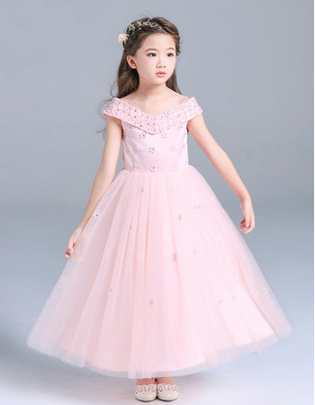 Custom Pretty V-Neck Tea Length Pageant/ Little Girls Party Dress