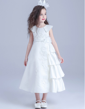 Inexpensive Lovely Lapel Tea Length Satin Flower Girl/ First Communion Dress