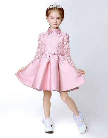Adorable Classy Short Satin Lace Flower Girl Dress with Long Sleeves