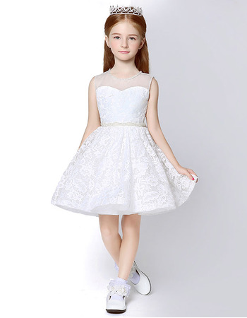2018 Kids Affordable A-Line Sleeveless Mini/ Short Lace Flower Girl Dress