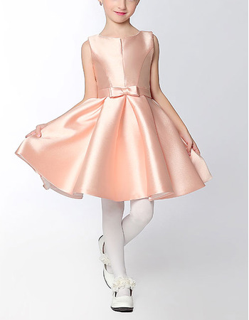 Custom Classy A-Line Sleeveless Mini/ Short Satin Flower Girl Dress