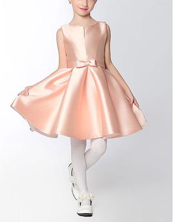 Custom Classy A-Line Sleeveless Mini/ Short Satin Flower Girl Dress