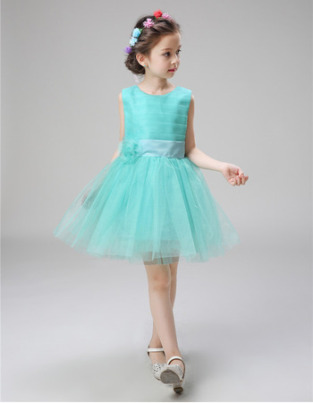 Inexpensive Pretty Sleeveless Mini/ Short Satin Organza Flower Girl Dress