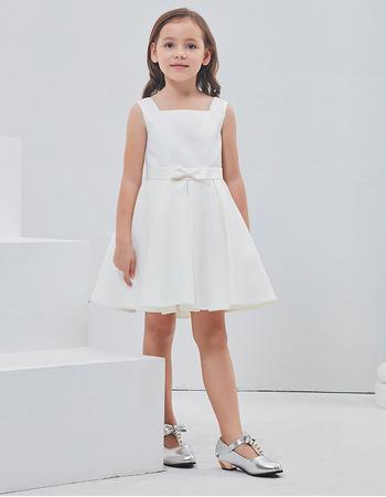 Inexpensive Cute A-Line Square Sleeveless Short Satin Flower Girl Dress