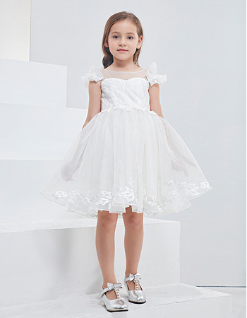 Kids Adorable Sleeveless Mini/ Short Organza Flower Girl Dress