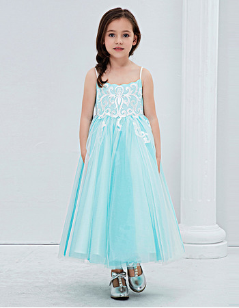 Little Girls Pretty Tea Length Embroidery Flower Girl Dress with Spaghetti Straps