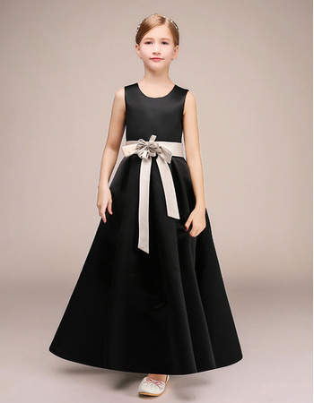 Kids Pretty A-Line Ankle Length Satin Black Flower Girl Dresses with Sashes