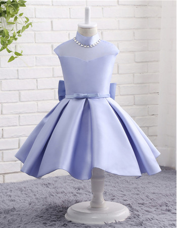 2018 New Style Knee Length Satin Flower Girl Dresses with Bows