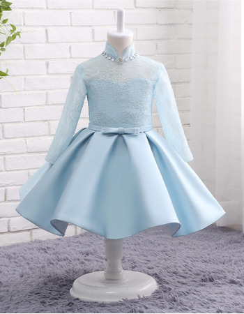 Kids Custom Lovely Mandarin Collar Knee Length Flower Girl Dress with Long Sleeves