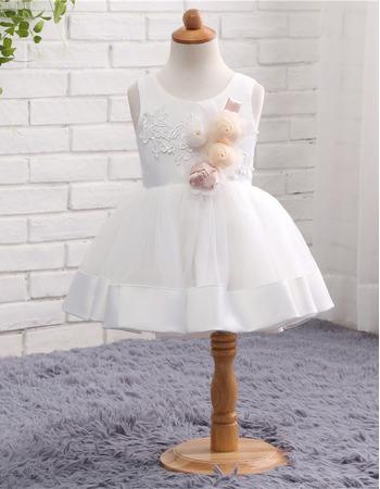 Pretty Infant Ball Gown Sleeveless Short Satin Flower Girl Dresses